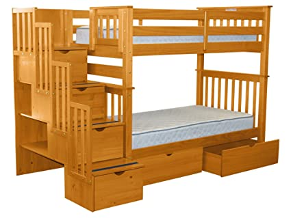 Amazon Com Bedz King Tall Stairway Bunk Beds Twin Over Twin With 4