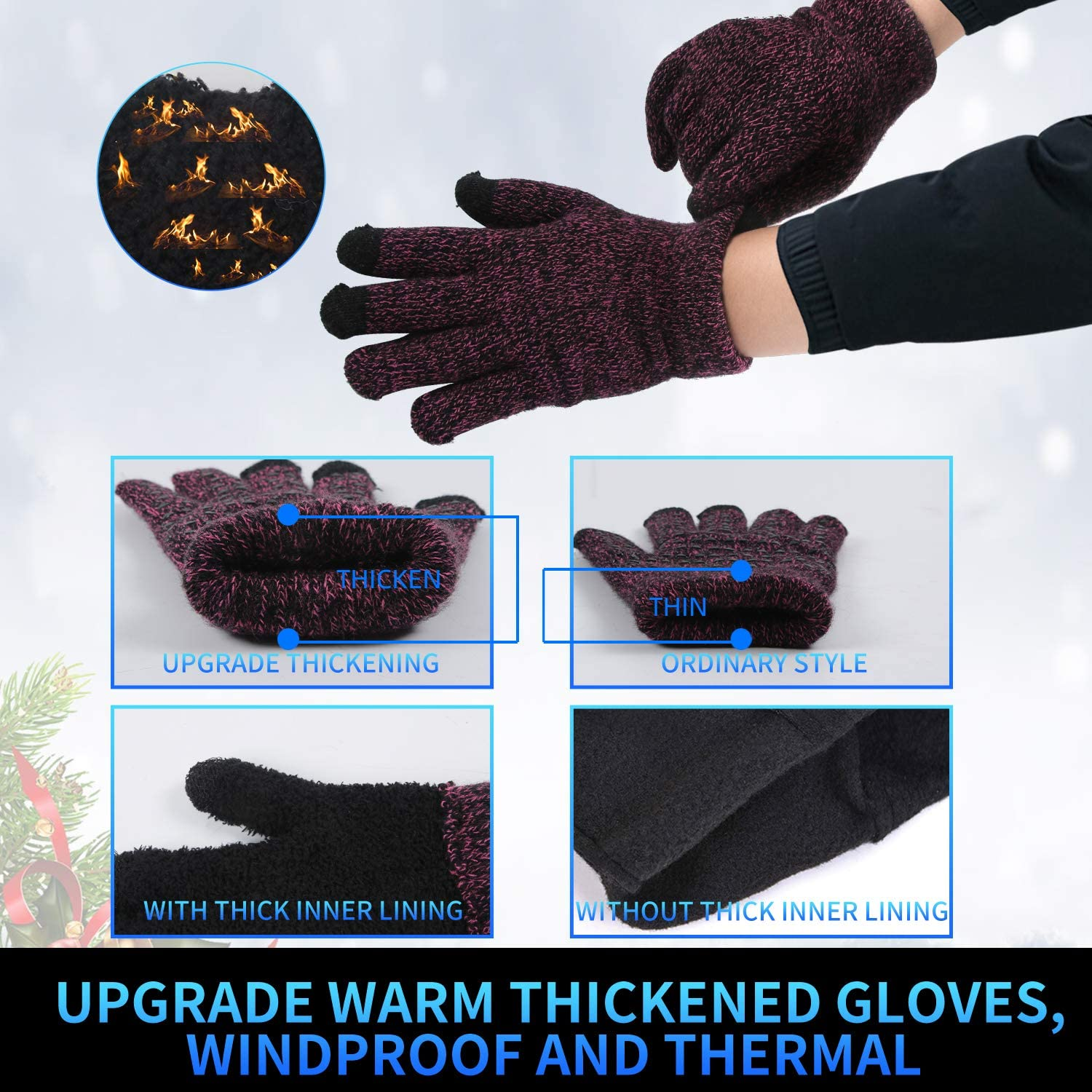 Fycert Knitted Warm Touch Screen Gloves Cold Resistant Non Slip Plus Velvet Thick Gloves for Autumn and Winter Outdoor Sports
