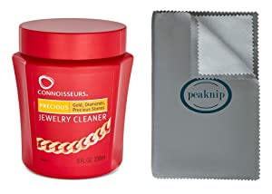 Connoisseurs Jewelry Cleaner, For Gold, Diamond, Platinum & Precious Stones, with Cleaning Basket, Brush and Polishing Cloth