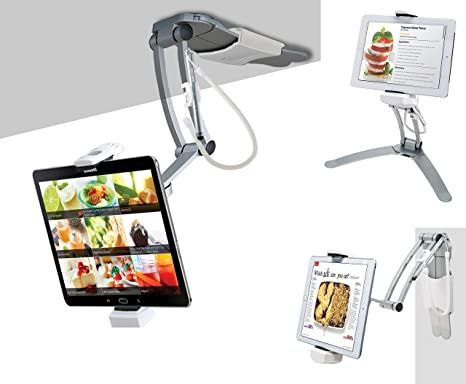 CTA Digital PAD-KMS 2-in-1 Kitchen Desktop Tablet Stand Wall Mount Holder  with Stylus for 7-13 Inch Tablets/iPad 2018/iPad Pro 12 9/7/Air/Mini,  Galaxy