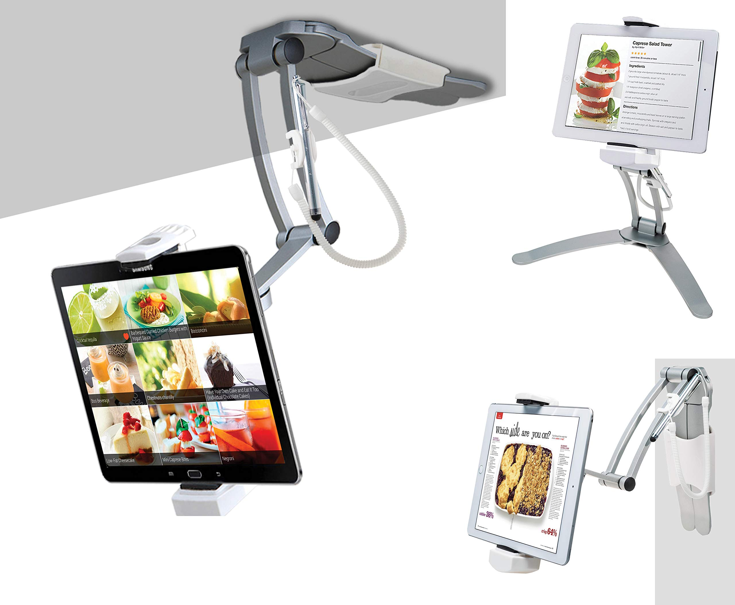 Details about 2-in-1 Kitchen Desktop Tablet Stand Wall Mount iPad Holder  with Stylus for 7-13