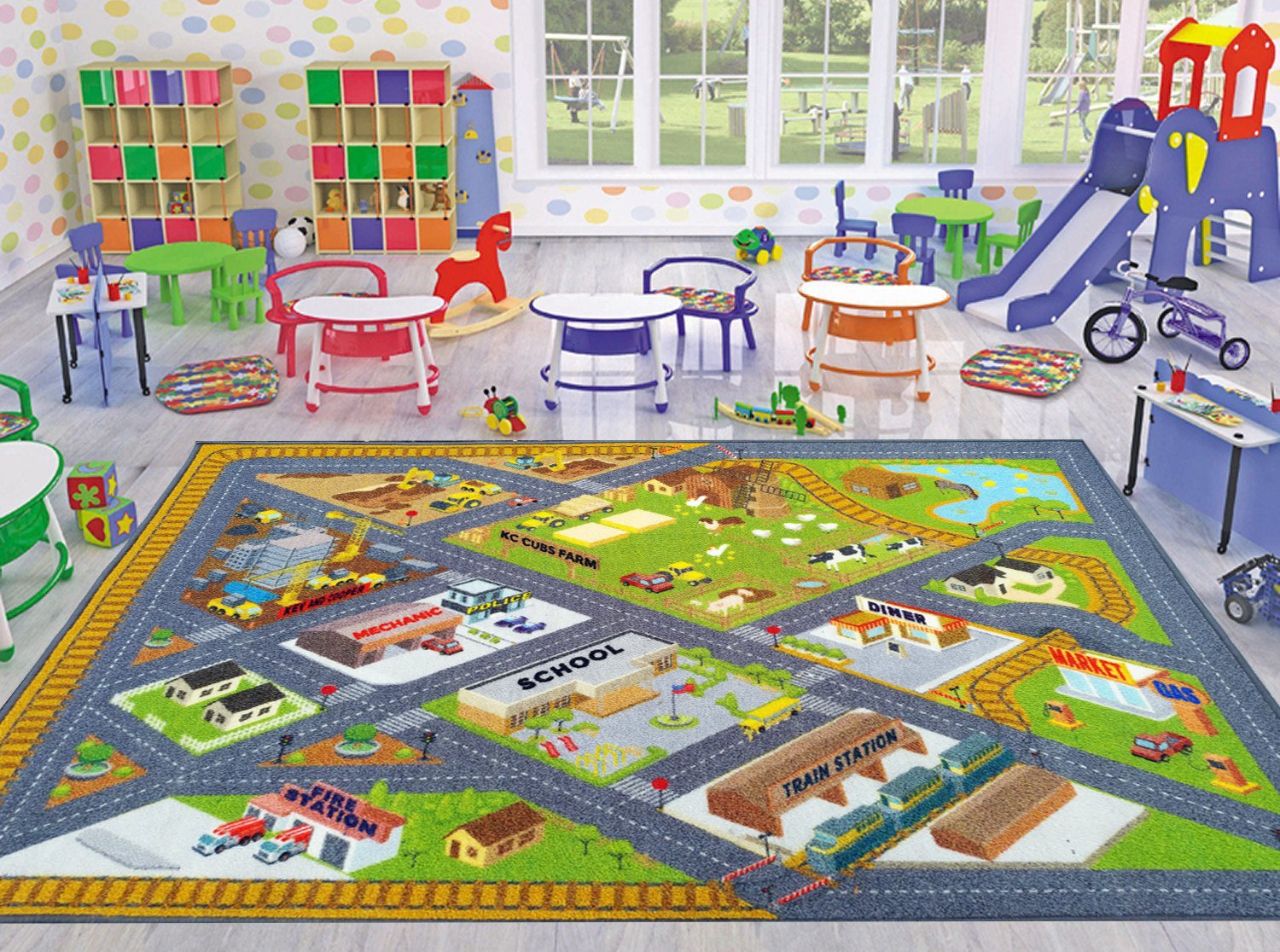 KC Cubs Playtime Collection Country Farm Road Map with Construction Site Educational Learning Area Rug Carpet for Kids and Children Bedroom and Playroom (3' 3'' x 4' 7'') by Kev & Cooper (Image #3)