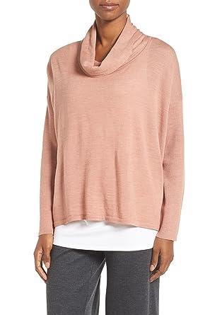 57c74b3e58e84 Eileen Fisher Ultra-fine Merino Cowl Neck Long Sleeve Sweater Top -Caramel  (Medium