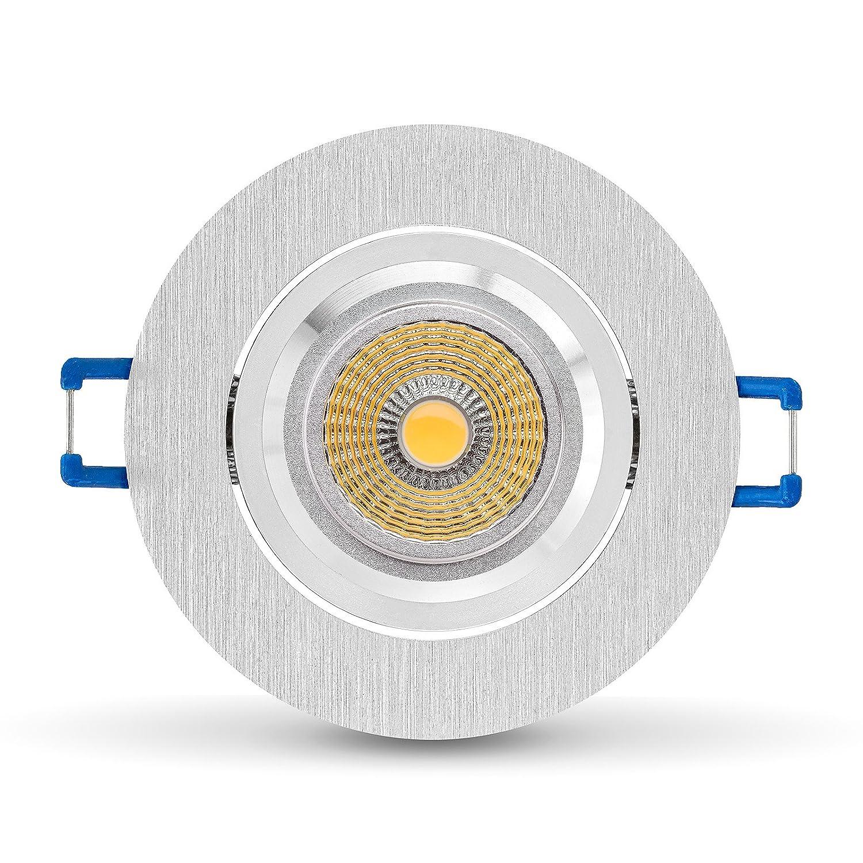 3 x LED Einbaustrahler Set von LEDOX - dimmbar inkl. Einbaurahmen   Abstrahlwinkel 36° I 230V 5W COB LED I Deckenleuchten schwenkbar Spot Deckenstrahler Einbauleuchte LED Strahler Deckenspots Downlight   LED Leuchtmittel warmweiß wie Halogen (3e