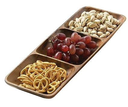 Premier Housewares 1104607 - Bandeja rectangular para aperitivos, madera de acacia, 3 secciones