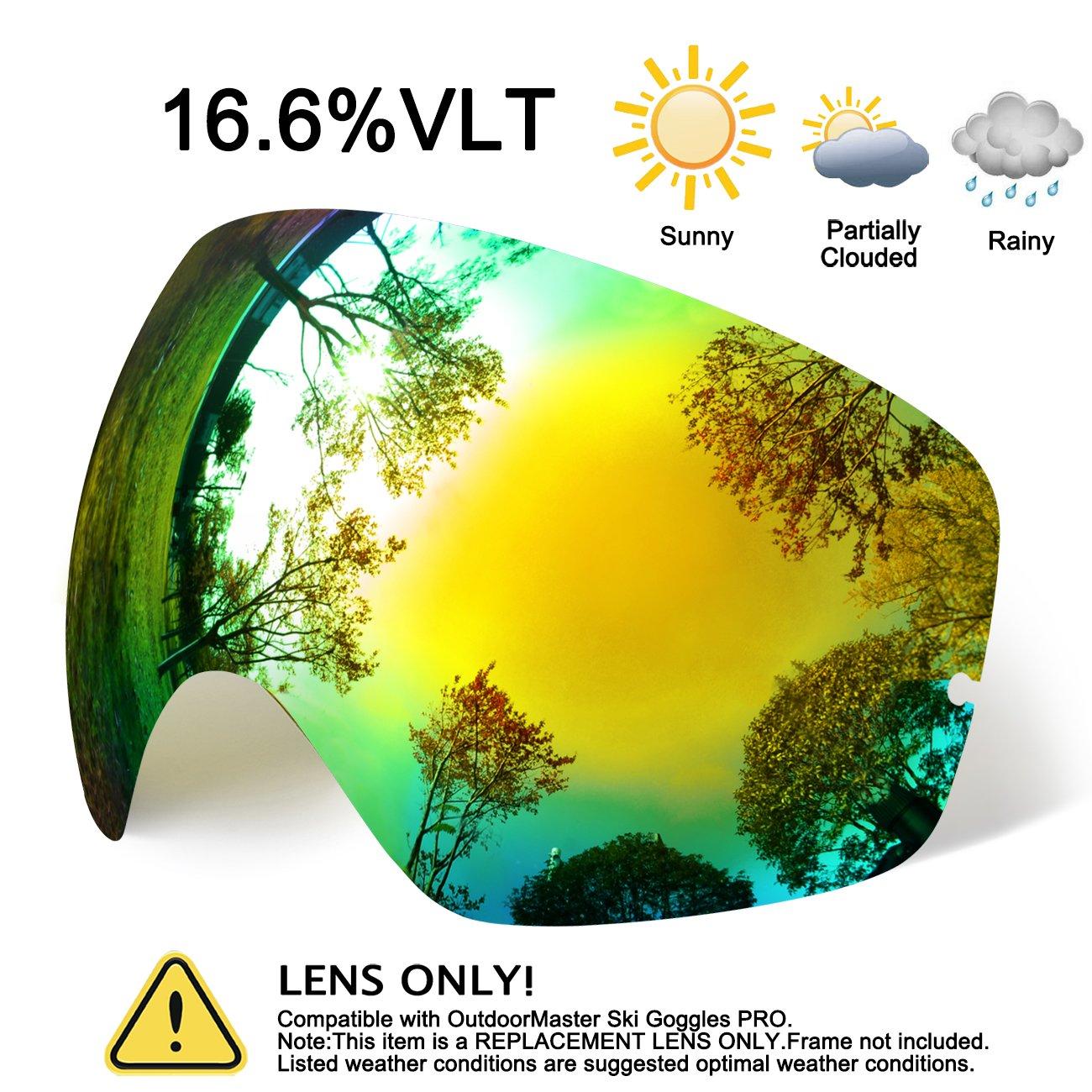 hongdak Ski Goggles Lens, Snowboard Goggles UV Protection, Snow Goggles Helmet Compatible men women boys girls kids, Anti fog OTG Gold Lens