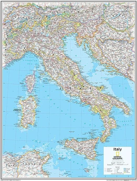 National Geographic: Italia mapa de pared – 22 x 28 pulgadas – papel enrollado: Amazon.es: Oficina y papelería