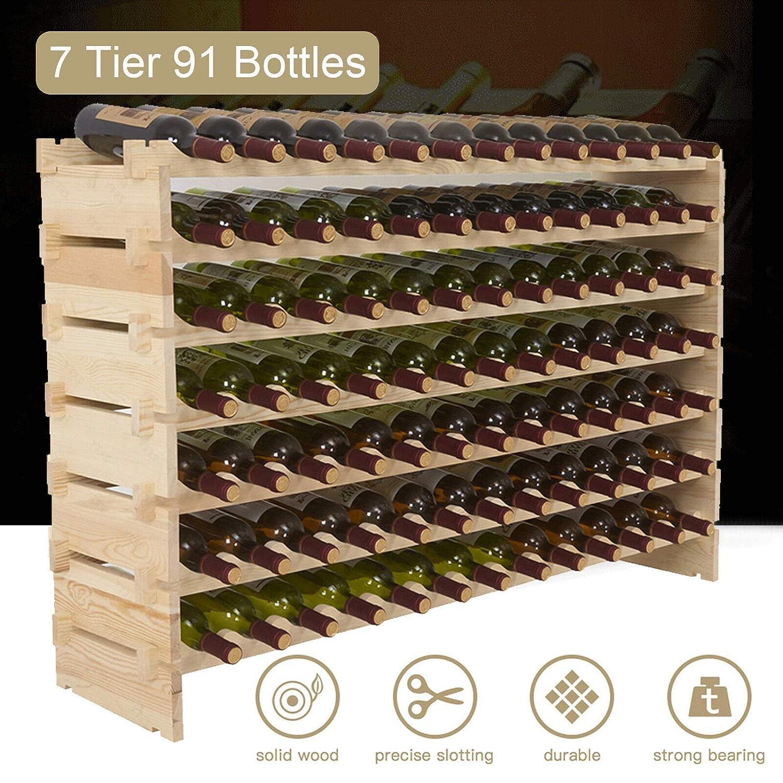 72 Bottles Rainbow Tree 72 Bottles Holder Wood Wine Rack Stackable Storage 6 Tier Solid Display Shelves