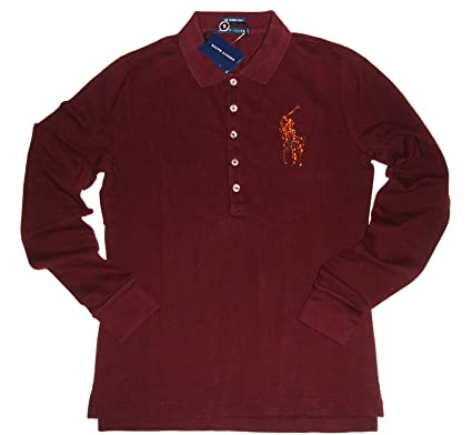Ralph Lauren Women\u0027s Big Pony Long Sleeved Polo Shirt Wine Red (Autumn  Wine) Size