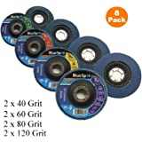 40 Grit Pack of 10 Flap Grinding Disc 115mm 40 Grit Abrasive Sanding Flap Wheel for Angle Grinders by EETOOLS