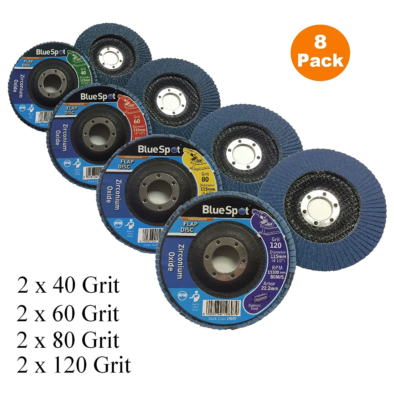 8 x Mixed Grit Flap Discs 115mm Zirconium Oxide Angle Grinder Sanding Wheels 4½ Inch Home.smart