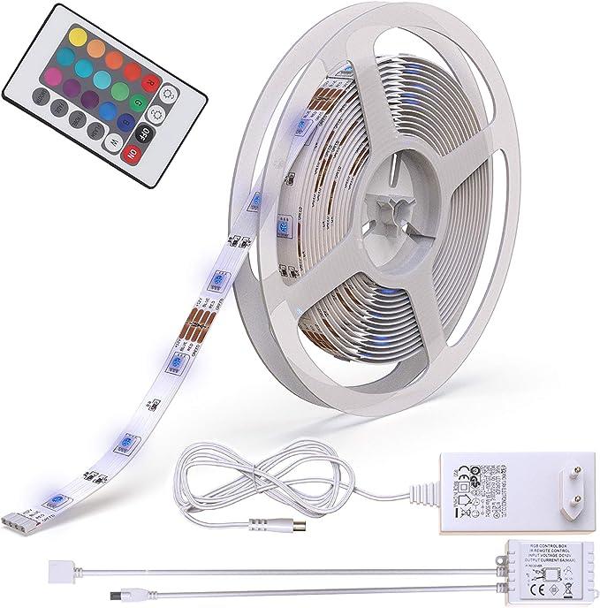 5m Tira de luz LED I 150 LED RGB I Mando a distancia I 24W I ...