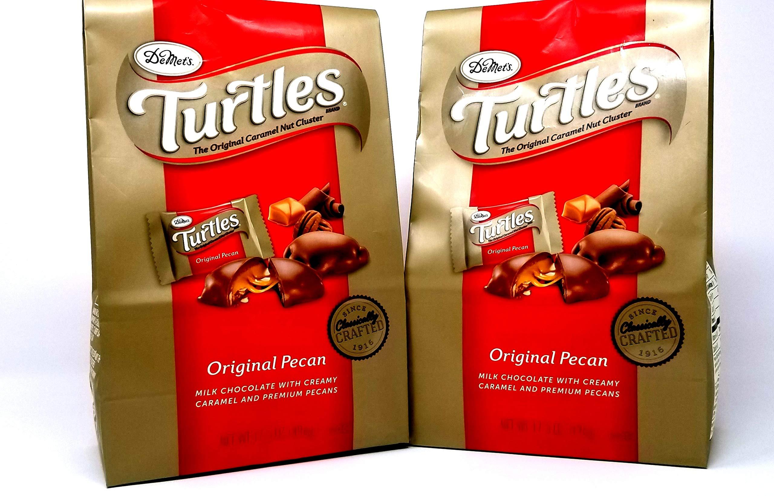 Demet's Original Turtles - Pecan, Chocolate, and Caramel 35 oz Value Pack (2 x 17.5 oz Bags) (2 Pack) by Demet's Turtles