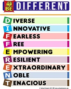 """School Smarts""""It's Okay to Be Different"""" an Inspirational Poster Packed with Positive Messages to Motivate Children & Adults, a Powerful Teaching Tool"""