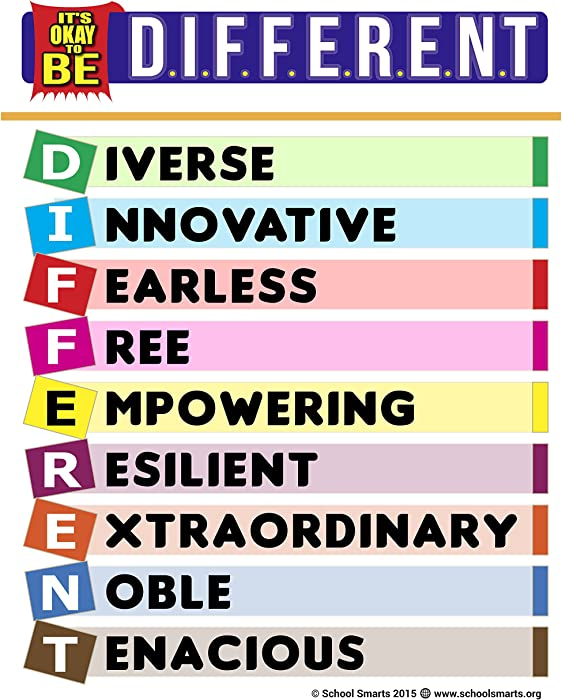 "School Smarts""It's Okay to Be Different"" an Inspirational Poster Packed with Positive Messages to Motivate Children & Adults, a Powerful Teaching Tool"