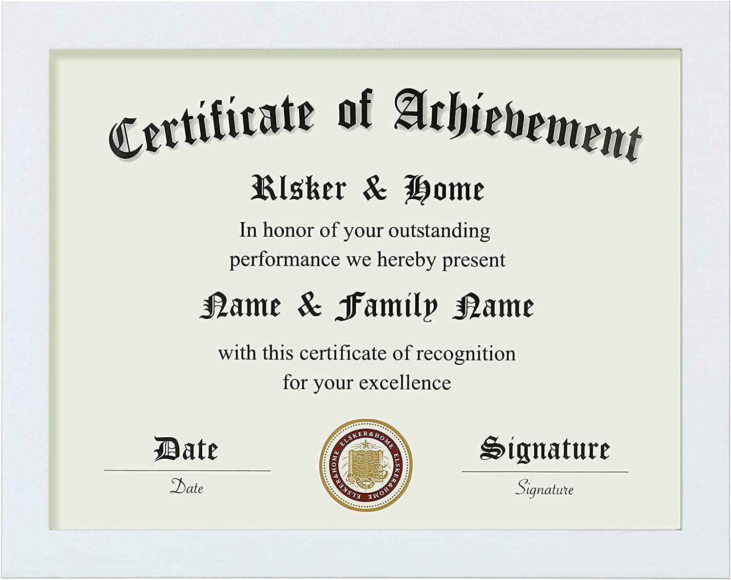 ONLY Display 11/×14 Document//Certificate ELSKER/&HOME Diploma Frame Classic Cherry Wood Color Wide Frame Acrylic Plate Wall Mount Display Double Mat, Black Mat with Golden Rim