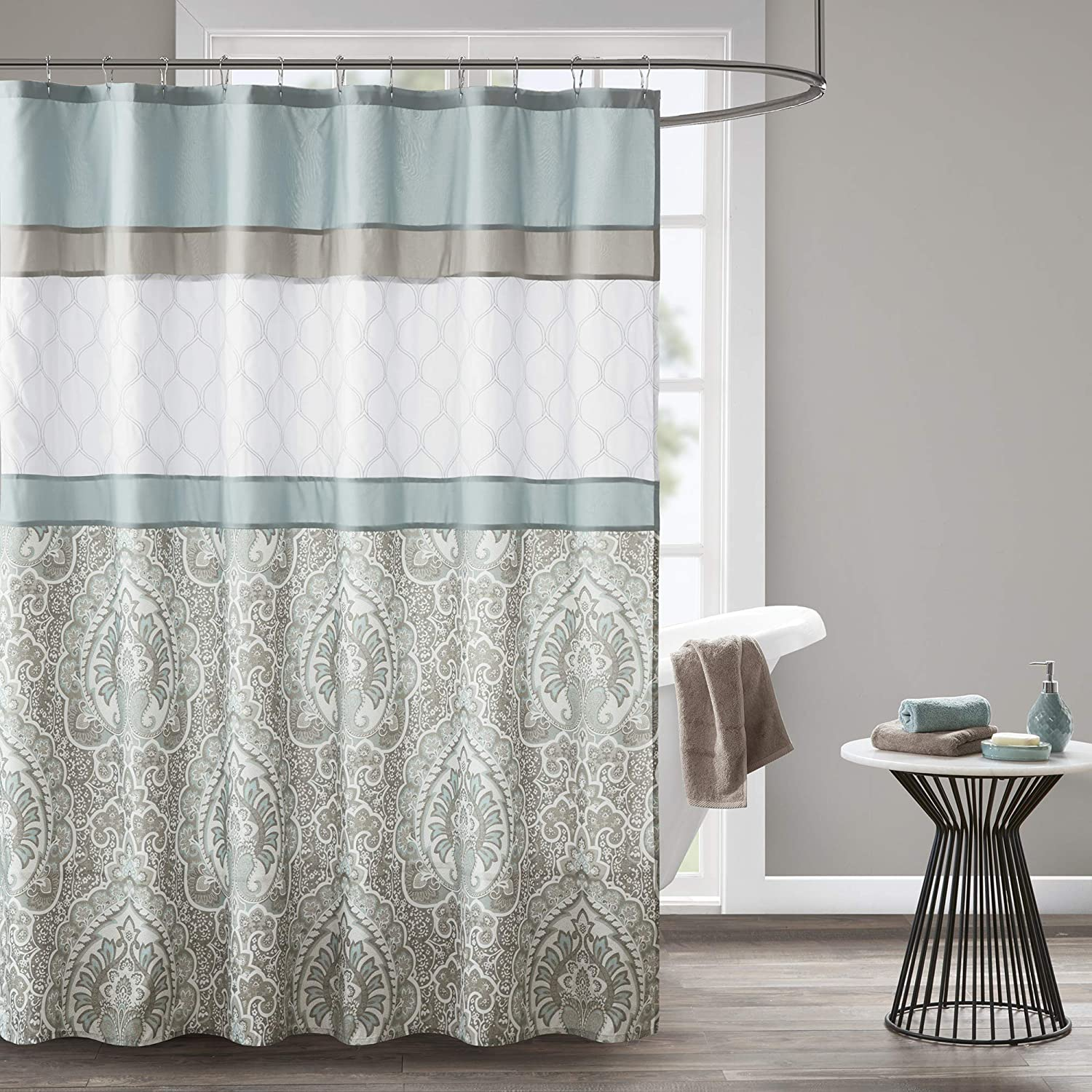 510 Design Shower Curtain, Geometric Textured Embroidery Design with Built-in Liner, Modern Mid-Century Bathroom Decor, Machine Washable, Fabric Privacy Screen 72x72, Shawnee, Blue