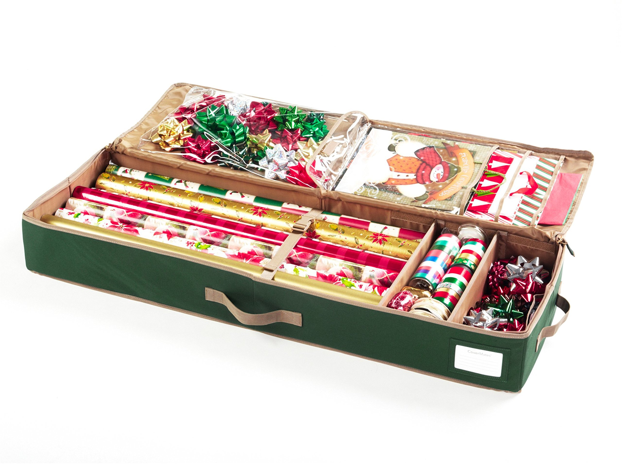 CoverMates – Premium Deluxe Gift Wrap Organizer – Holds up to 15 Rolls + Accessories – 3 Year Warranty- Green