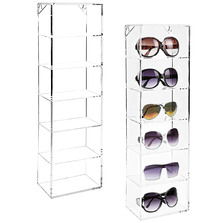 Modern Clear Acrylic Wall Mounted Storage Organizer Rack / 6 Shelf Sunglasses Eyewear Display Case MyGift TB-HOM0794CLR