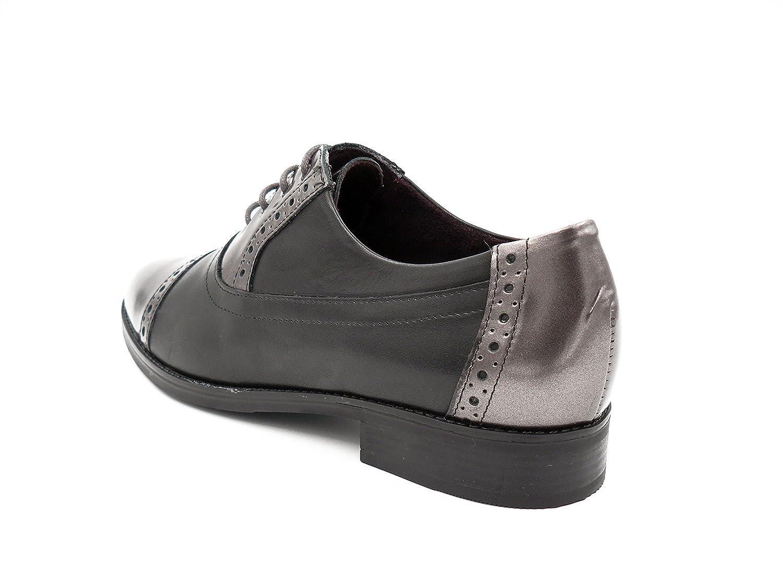 Piel Color Negro Combinado Metal Color Humo Zapatos Mujer Cordones Tipo Oxford PITILLOS 1352-578