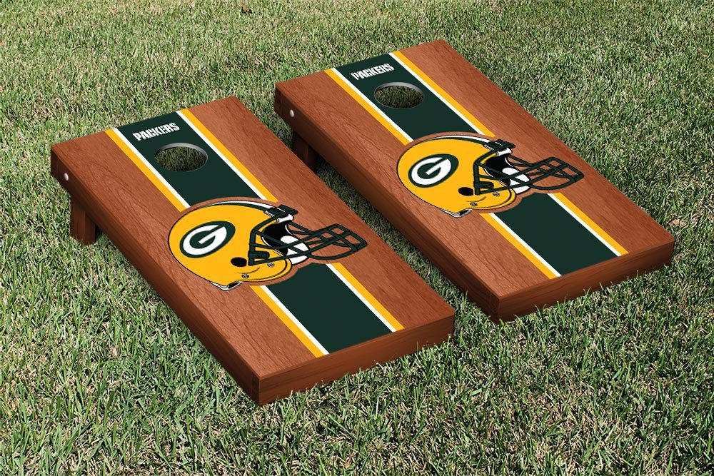 NFL Green Bay Packers Rosewood Stained Stripe Version Football Cornhole Game Set, 24'' x 48'', Multicolor by Victory Tailgate (Image #1)