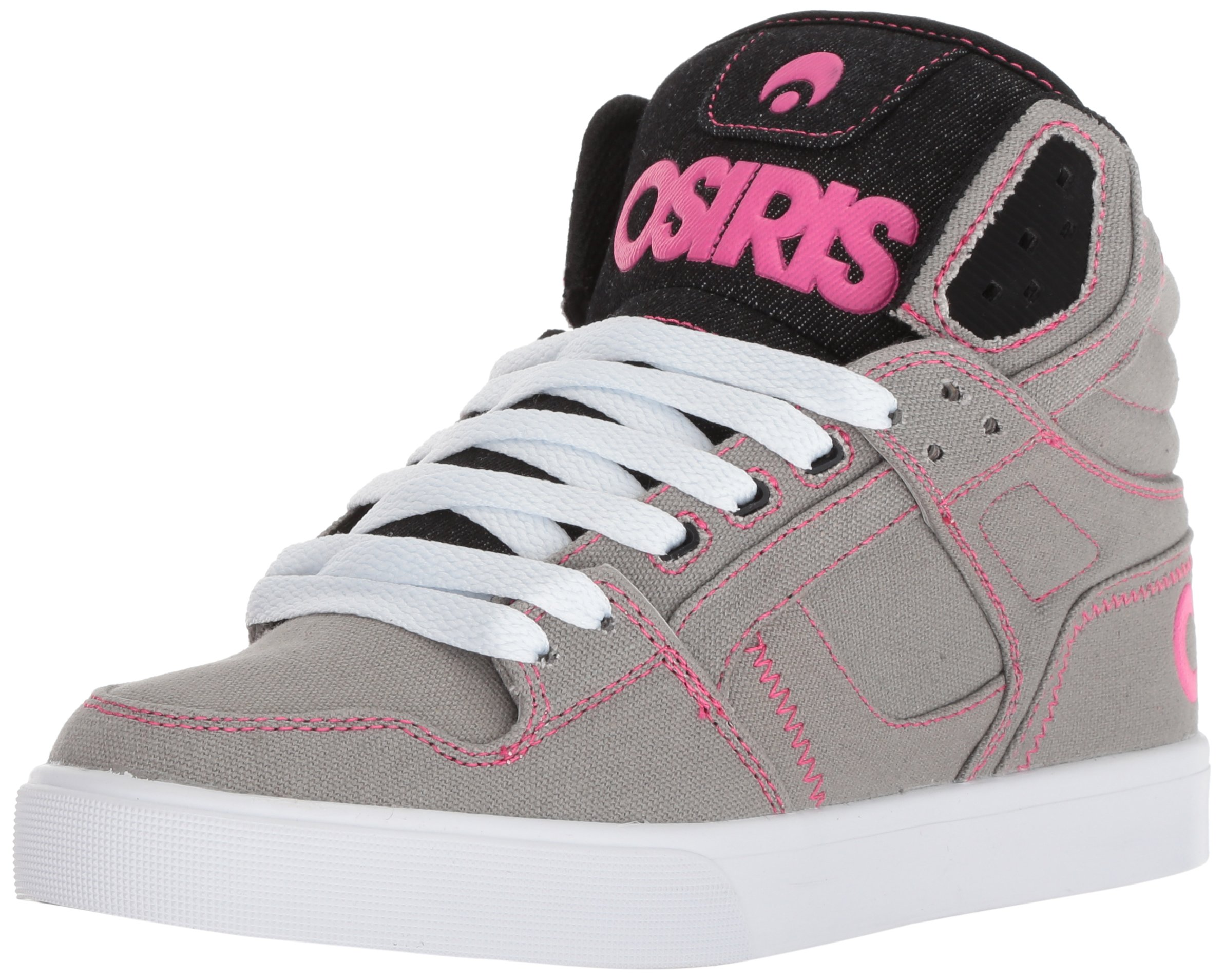 Osiris Women's Clone Skate Shoe, Grey/White/Pink, 10.5 M US