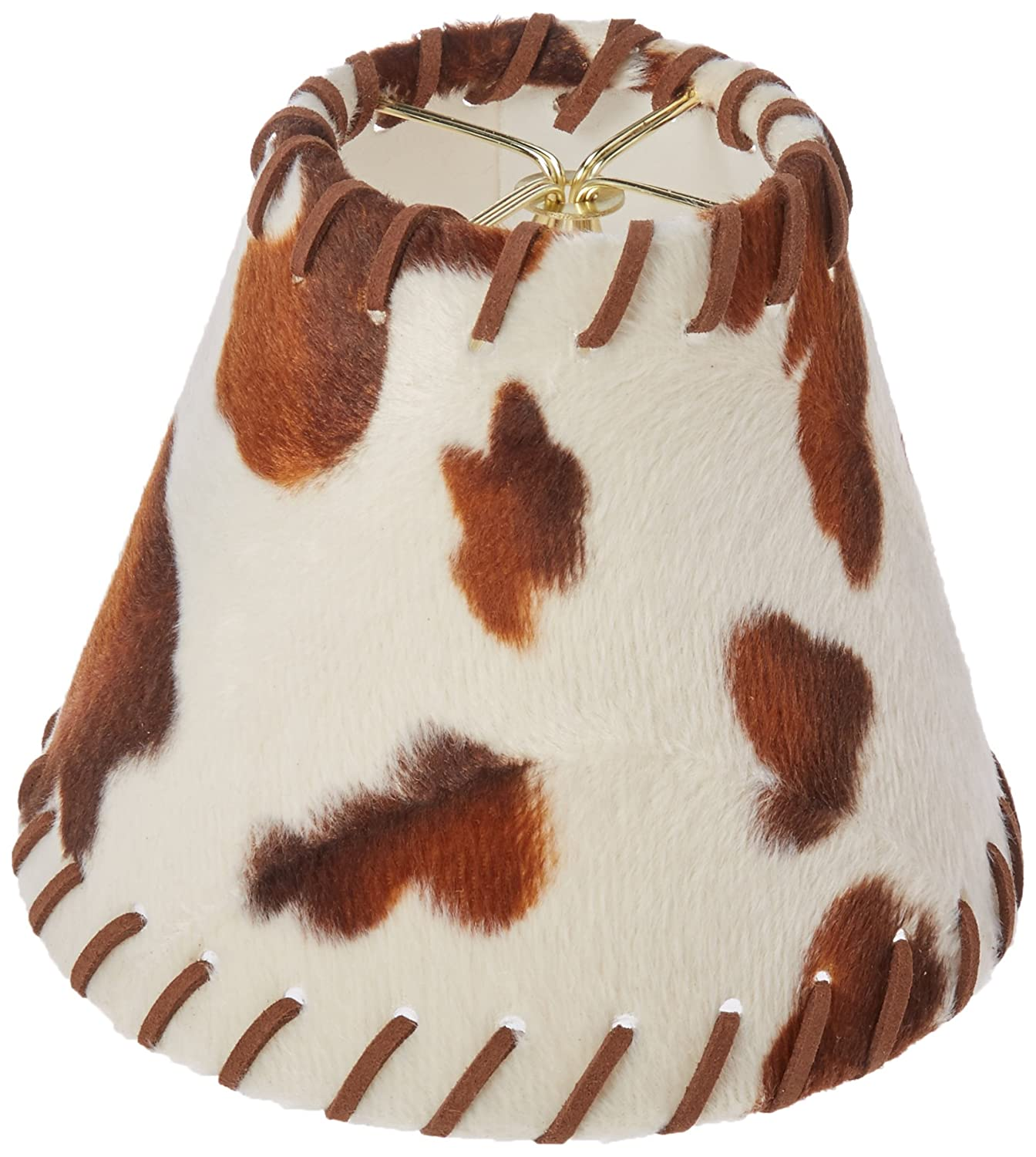 Brown//Beige Royal Designs CS-962-6 6 Cowhide Chandelier Lamp Shade with Lace