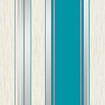 Amazoncom Vymura Synergy Striped Wallpaper Teal White Silver