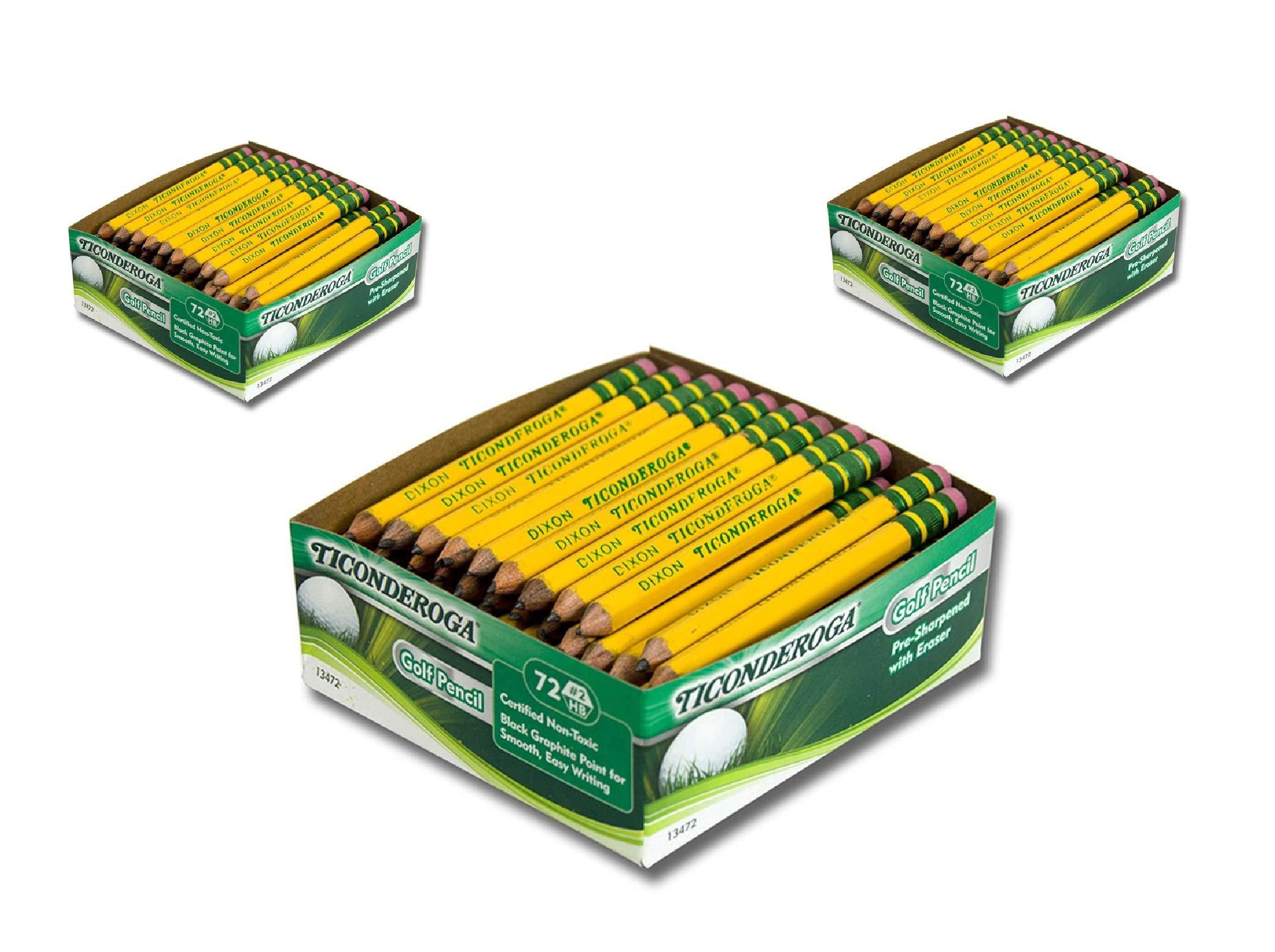 Ticonderoga DIX13472 Golf Pencil, Yellow (72 Count) (3-Pack of 72)