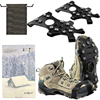 New Upgrade Ice Grips Ice Cleats Crampons, ZUXNZUX Anti Slip Snow Grips with 11 Teeth Stainless Steel Durable Silicone…