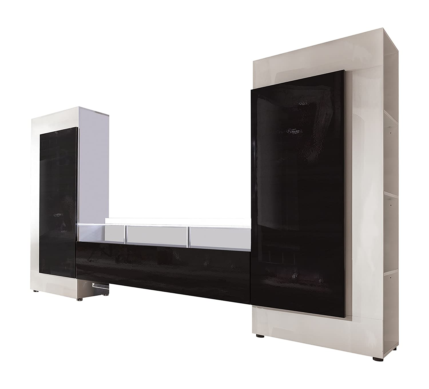 Furnline High Gloss TV Stand Wall Unit Living Room Furniture Set, Cooper  White/Black: Amazon.co.uk: Kitchen U0026 Home