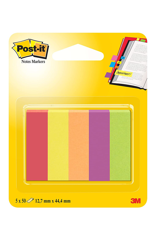 Post-it 63105 Segnapagina in Carta, 12.7 x 44 mm, 5 Colori Capetown, Fucsia/Arancio Neon/Giallo Oro/Verde Neon/Acquamarina, 250 Pezzi 3M 670-5CA