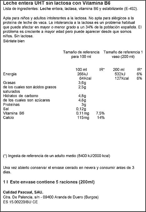 Leche Pascual Leche Sin Lactosa - 1000 ml: Amazon.es ...
