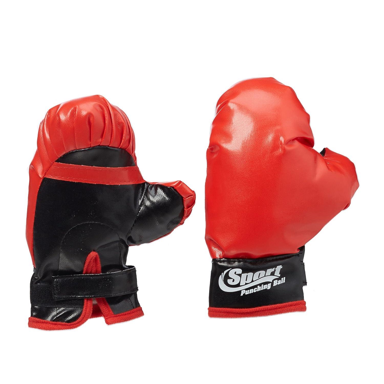 Standard Relaxdays Set de Boxe Enfants Punching-Ball R/égler Hauteur Jusqu/'/à 118 cm Sac /& Gants Pompe Cuir M/étal Noir-Rouge