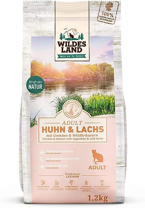 Wildes Land | 1,2 kg | alimento seco para gatos | pollo y salmón | Fórmula sin cereales | Alto contenido de carne | Preparado en Alemania | Alto ...