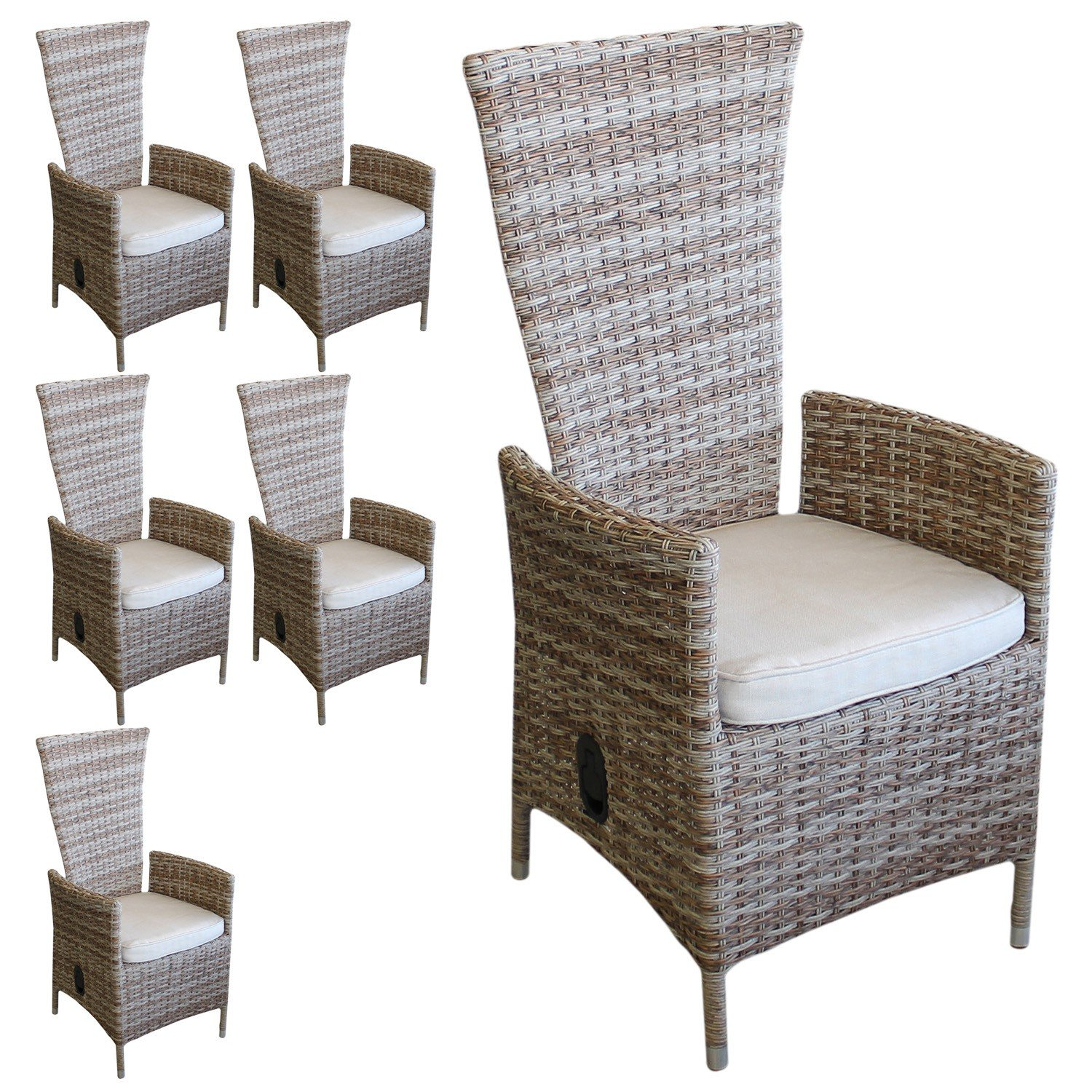 6 st ck poly rattan gartensessel gartenstuhl relaxsessel rattanstuhl rattansessel r ckenlehne. Black Bedroom Furniture Sets. Home Design Ideas