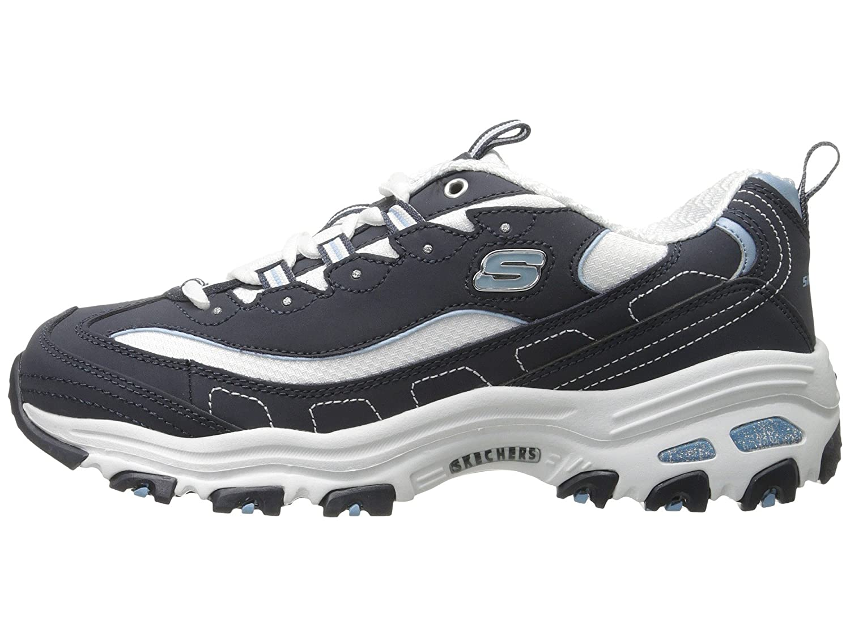 Skechers Women's D'Lites Memory W Foam Lace-up Sneaker B01D8TSMVI 8 W Memory US|Navy/White 1d96cc
