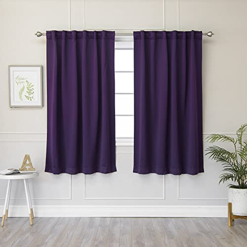 Best Home Fashion Thermal Insulated Blackout Curtains – Back Tab Rod Pocket – Purple- 52 W x 63 L Tie Backs Included Set of 2 Panels