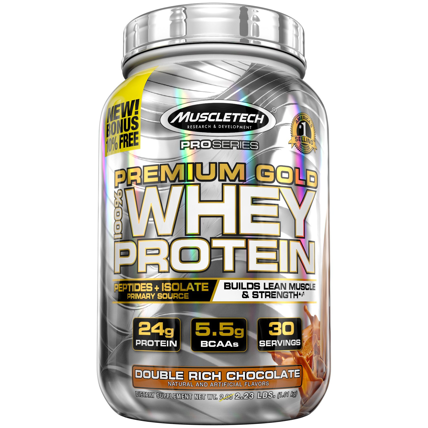 MuscleTech Premium Gold 100% Whey Protein Powder, Ultra Fast Absorbing Whey Peptides & Whey Protein Isolate, Double Rich Chocolate, 30 Servings (2.2lbs) by MuscleTech