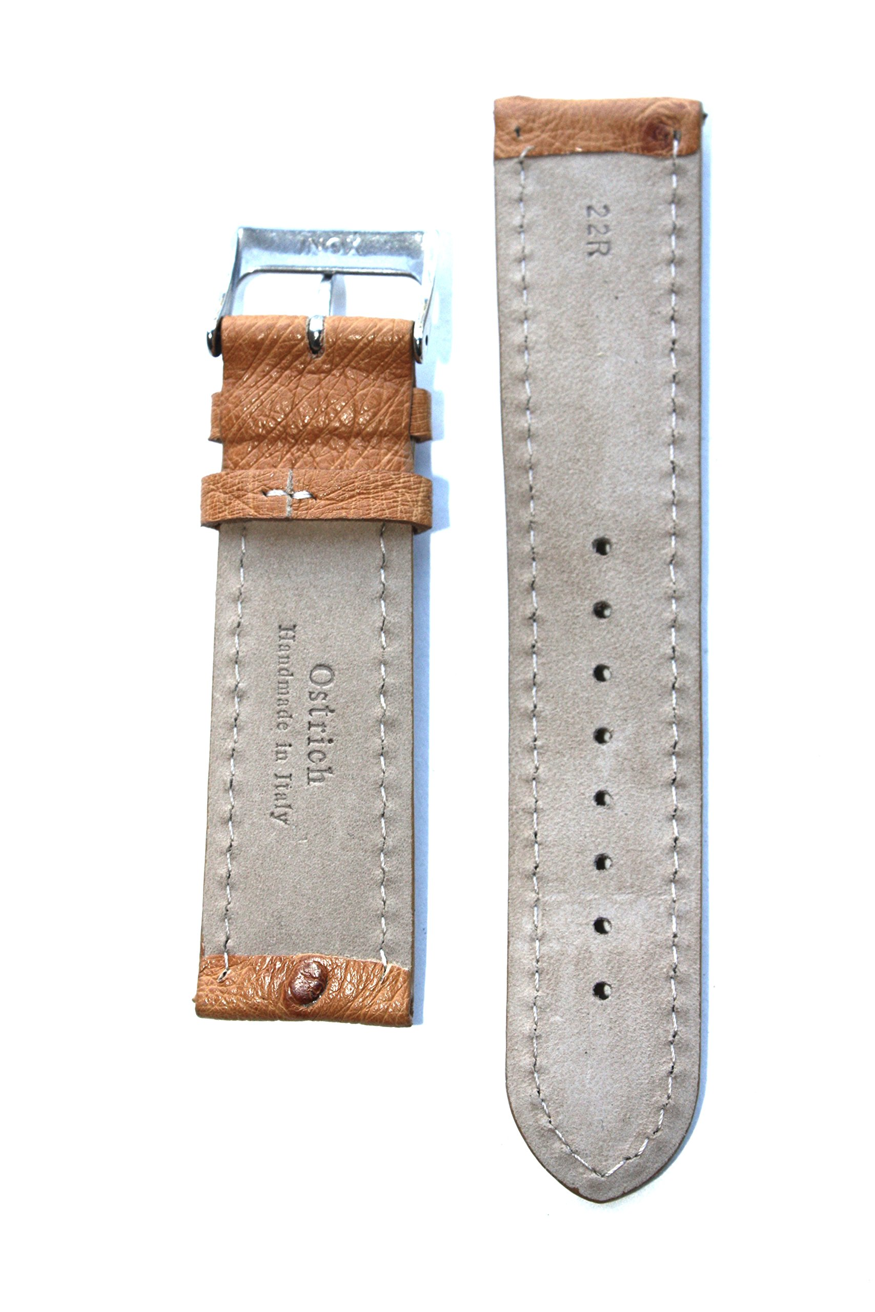 20mm Tan Genuine Ostrich Breitling Style Watchband with Contrast Stitching Made in Italy