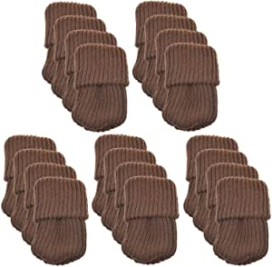 NEJLSD 20pcs Chair Socks for Hardwood Floors Knitted Furniture Socks Chair Leg Floor Protectors Chair Leg caps Protect Floors from Scratches and Reduce Noise (Brown)
