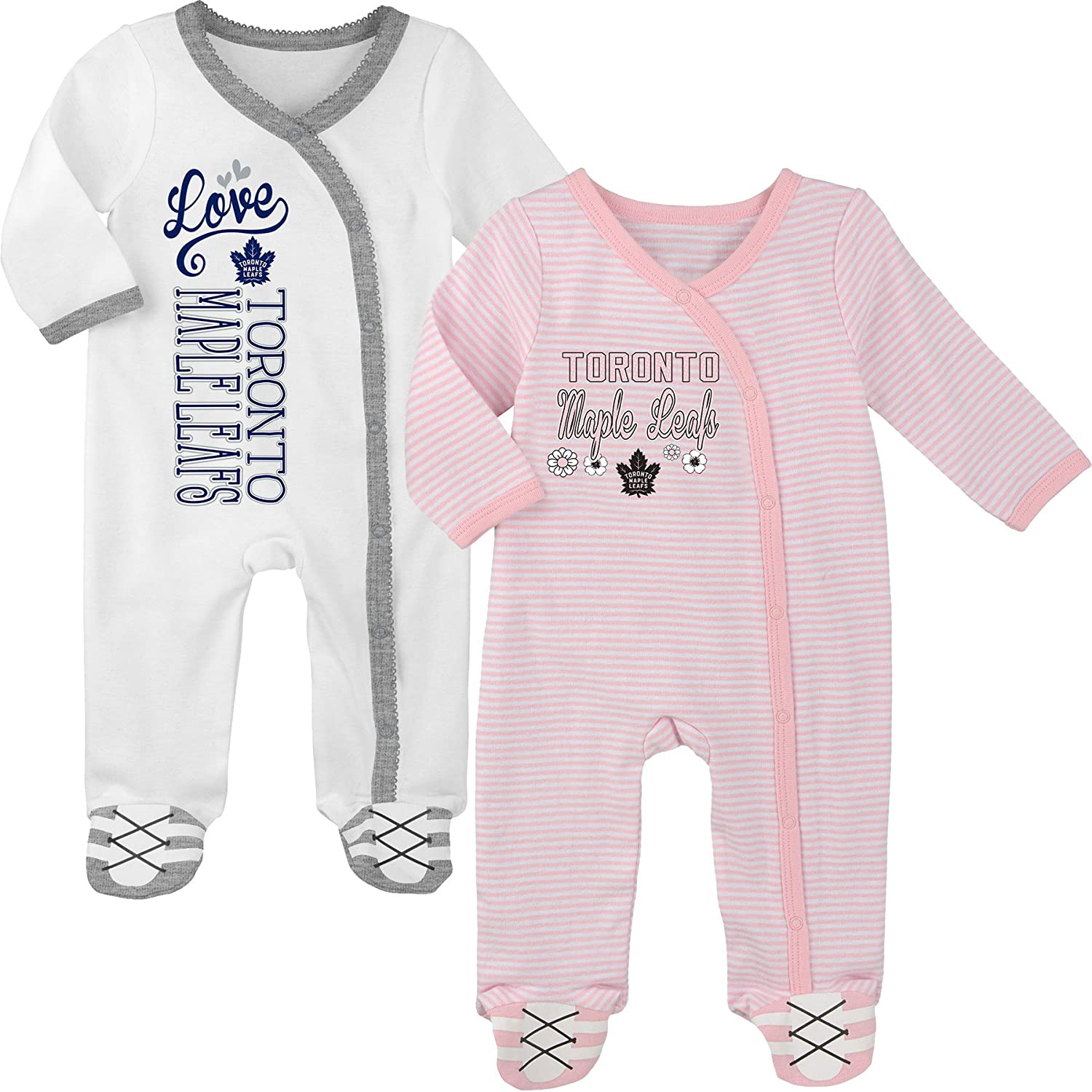 Toronto Maple Leafs Newborn Girls 2nd Period 2-Piece Long Sleeve Coverall Set - Size 0-3 Months Outerstuff