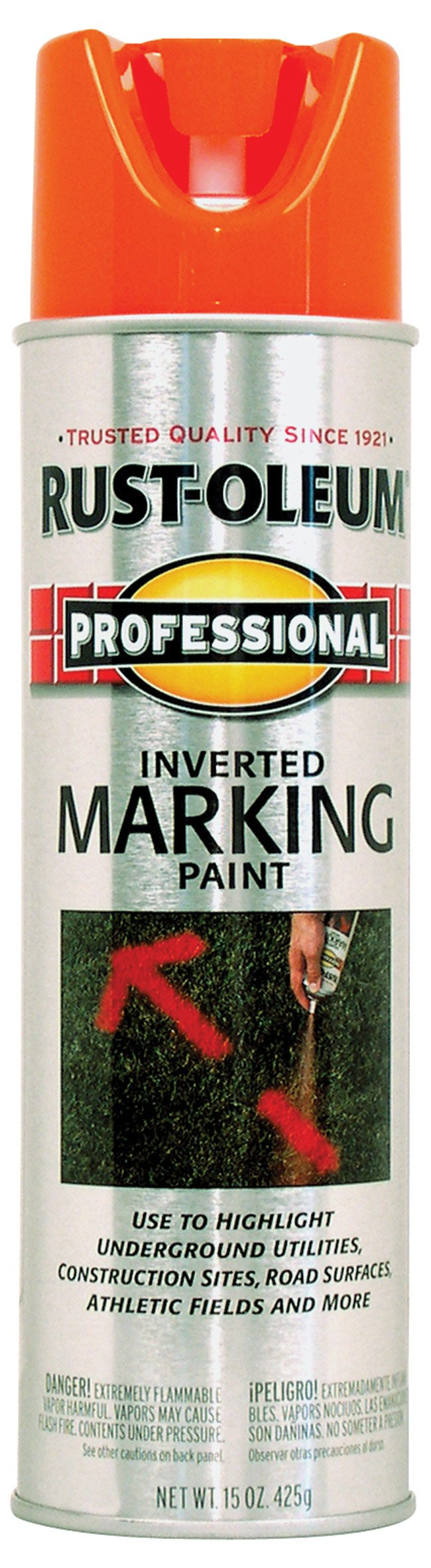 Rust-Oleum 2554 Professional Inverted Marking Spray Paint, Fluorescent Orange, 15-Ounce