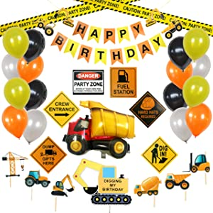 Construction Party Supplies - Construction Party Decoration - Birthday Banner, Caution Signs, Balloons, Construction Signs and Cupcake Toppers