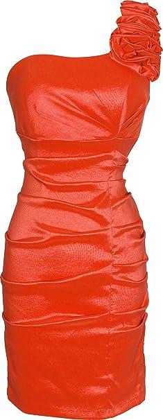 Stretch Taffeta One-Shoulder Prom Dress, Small, Orange