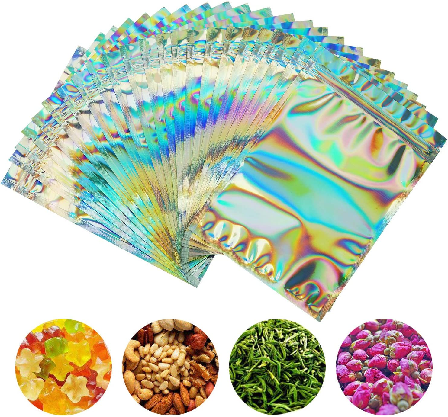 SMONCO 100 Pieces Smell Proof Bags - 5x7 Inches Resealable Mylar Bags Clear Zip Lock Food Candy Storage Bags Holographic Rainbow Color