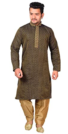 6af1d0ee71 Desi Sarees Mens Wedding Designer Kurta Salwar Kameez 1838 (Chest – 36  inches, Black