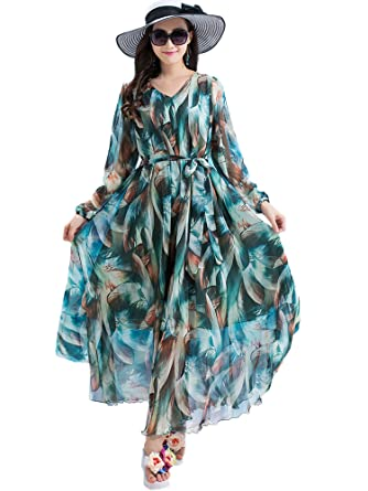 Medeshe Long Sleeve V Neck Floral Holiday Beach Wedding Guest Maxi ...