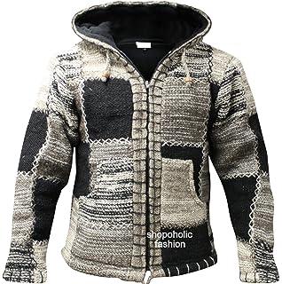 Shopoholic Fashion Mens Grey Black Wool Hoodie Hippy Festival Jacket