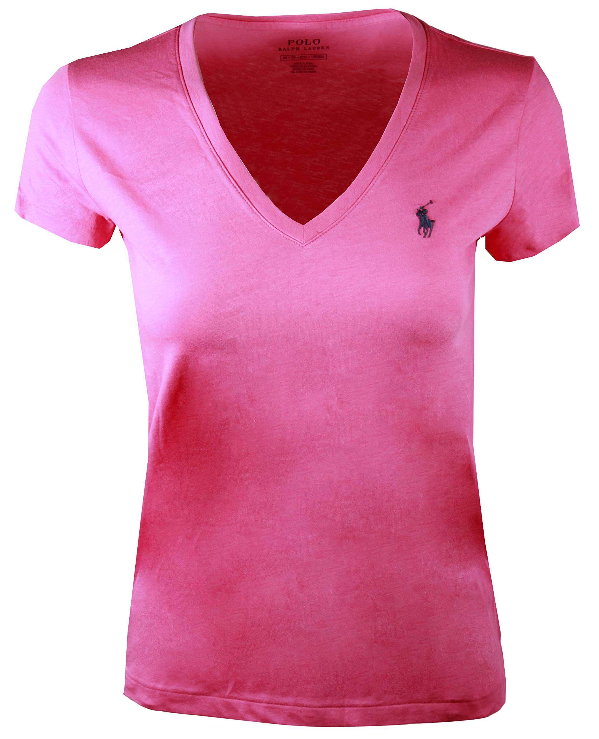 Polo Ralph Lauren Women S Pony Logo V Neck Tee X Small Hot Pink